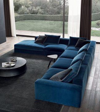 Sofa góc chữ L vải nhung