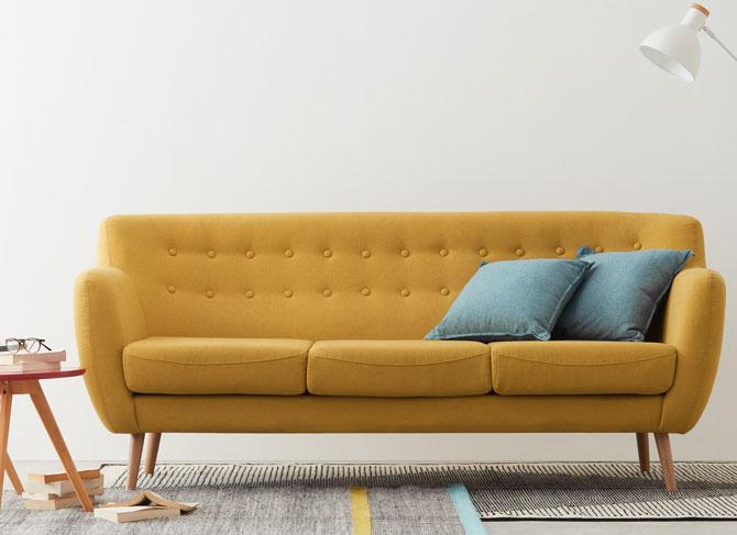 Ghế sofa Rana 3 chỗ ngồi vải cho căn hộ Z3007