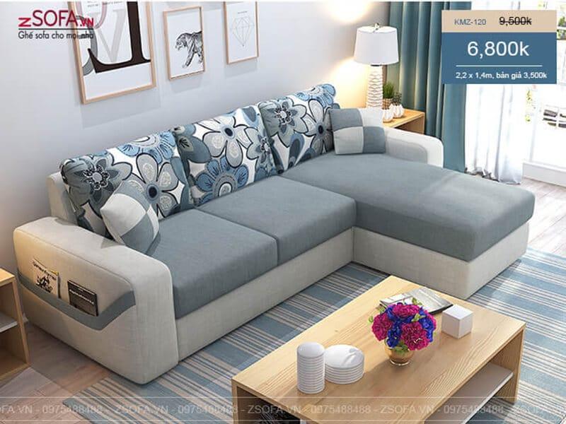 Bàn ghế sofa nỉ hiện đại