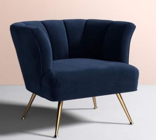 sofa đơn armchair chân cao mạ vàng