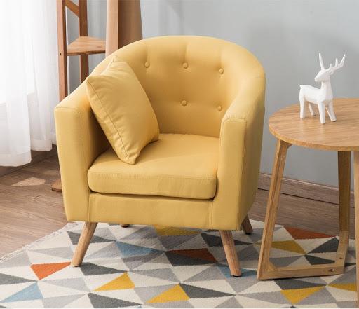 sofa đơn chân cao màu vàng
