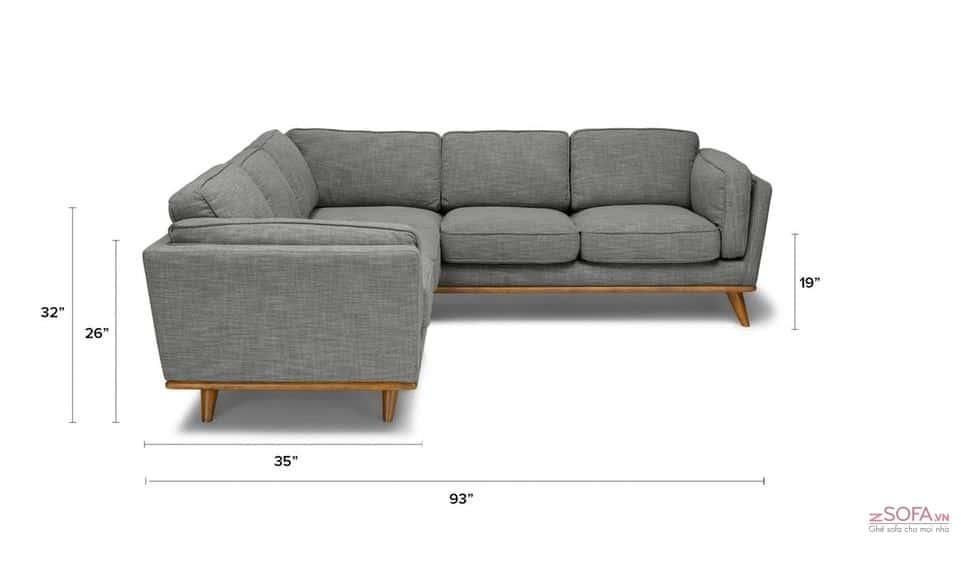 Sofa góc loại nhỏ dành cho phòng khách nhỏ